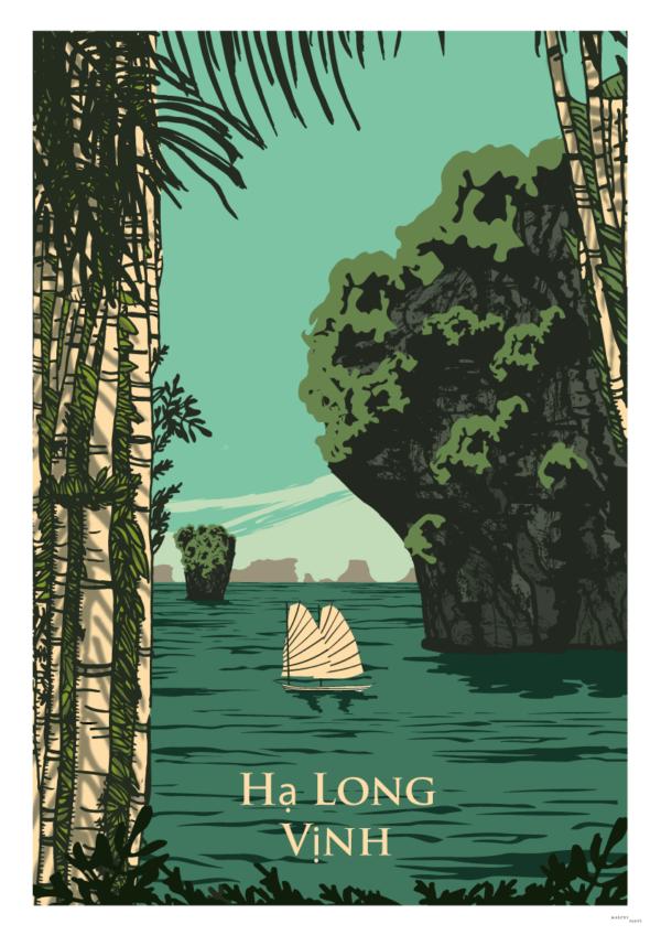 Affiche baie d'Halong
