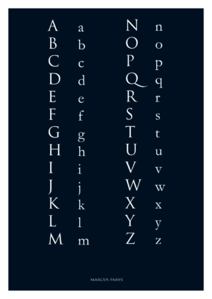 décoration murale avec les lettres de l'alphabet latin