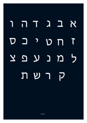 affiche des lettres de l'alphabet hrébeux